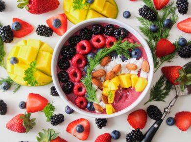 Foto van een bord fruit