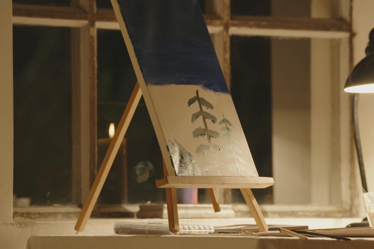 Schilderij met twee bomen